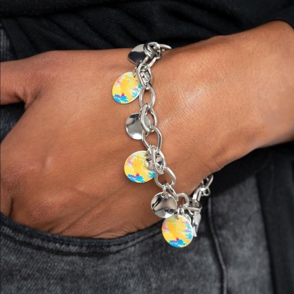 Paparazzi Teasingly Tie Dye Yellow Bracelet, NWT